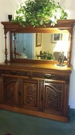 Hand carved wooden buffet with mirror - from Spain. $1500