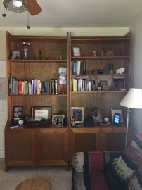 Pair pine book cases with storage