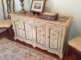 Marble Top Drexel Antique White Credenza
