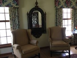 Ethan Allen Wing Chairs, Chinoiserie Mirror