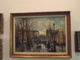 Original oil painting signed R. Champignon, Paris street scene