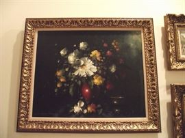 Floral still life, original oil painting by listed Hungarian Artist Peter Kloton