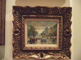 Original oil painting, Paris street scene, signed 'Antoine Blanchard'