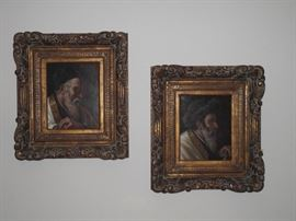 Rabbi portraits, both oil on board, by M. Wysocki (Austria)