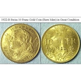 Coins Currency Gold 1922B Swiss 10 Francs Coin
