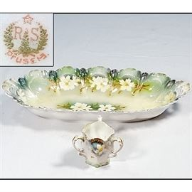 Porcelains RS PRussia Three Handled Toothpick And Oval Celery Tray