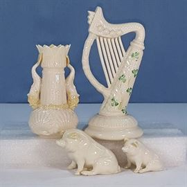 Porcelains Irish Belleek Pigs Harp Dolphin Vase
