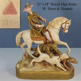Porcelains Royal Dux Bohemia Horse And Rider With Horn and Hounds