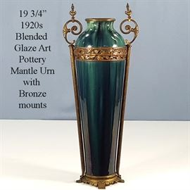 Pottery Art Mantle Vase Blended Glaze With Bronze Mounts
