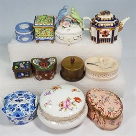 Porcelains Stone ANd Metal Miniature Boxes