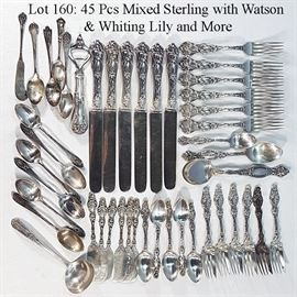 Sterling Silver Lot160 Mixed Lily Pattterns etc 45 Pieces