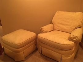 Upholstered chair w/ ottoman SOLD