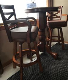 Wooden high top with 2 chairs $200