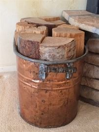 Copper tub with firewood