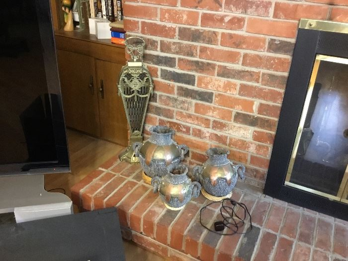 Great fireplace fan and other collectibles