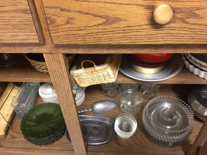 Items in Oak China cabinet - bottom