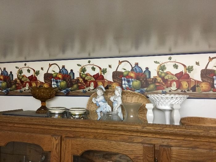 Top of the oak China cabinet items