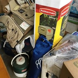 Coleman water jug, new in box mailbox & more to be discovered!