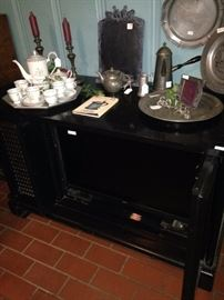 TV cabinet adapted for an updated version; tea set; more pewter selections