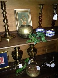 Brass selections; barley twist candle sticks