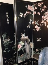 Four-panel Asian room divider