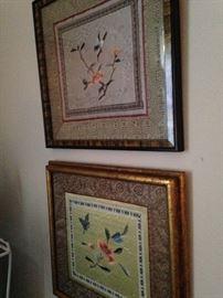 Framed Asian silk wall hangings