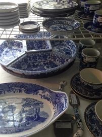 Blue & white platter, divided serving piece, cups & saucers