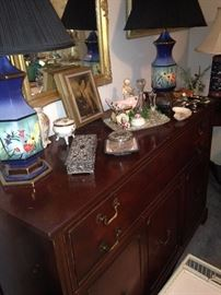 Mahogany dresser; matching and colorful lamps