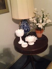 One of several blue & white lamps
