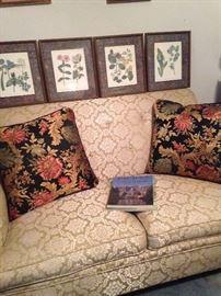 Botanical framed prints; love seat; decorative pillows