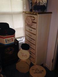Vintage hats, hat boxes, and Provincial lingerie chest