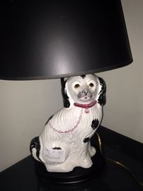 One of two dog lamps