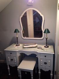 Shabby chic vanity, bench, and mirror