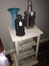 """Old mercantile painted display cabinet - """"Hardesty's Challenge Flavoring Extracts"""""""