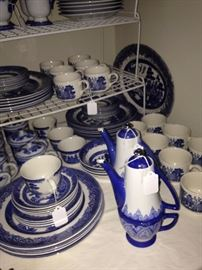Blue Willow and other blue & white dishes