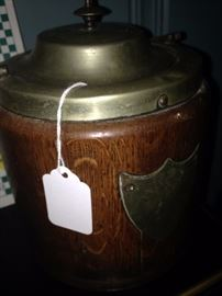 English oak and brass biscuit barrel