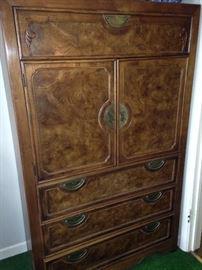 Burled wood clothing/storage armoire