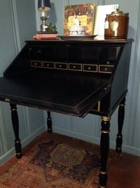 Black (with gold trim) secretary - inside with organized spaces