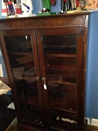 Antique glass-front display cabinet great for home, office, or antique booth.