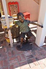 Bronze statue of little boy by Emil