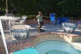 The Fabulous large Blue pots poolside