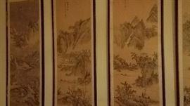 4 framed silk asian paintings