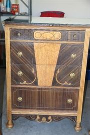100 year old Art Deco Dressor with glass top protector. Beautiful. 1 of three pieces