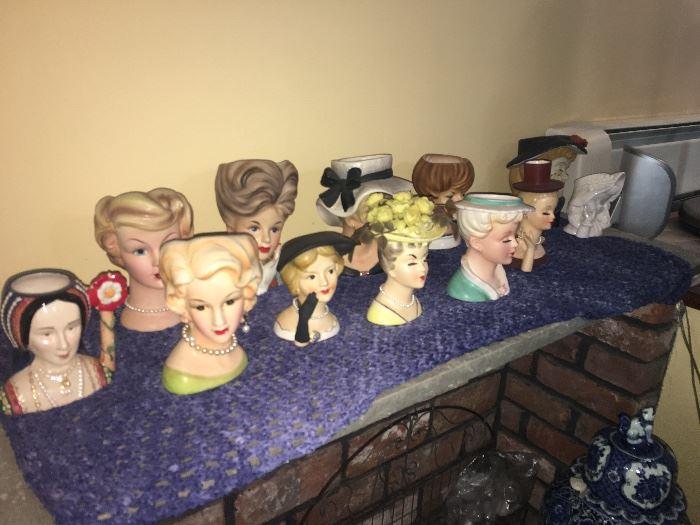 Collection of Ladies Head Vases
