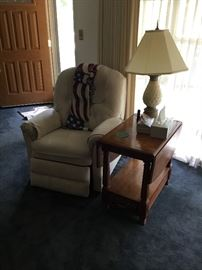 Recliner and drop leaf side table with lamp