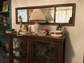 Curio cabinet, lamp and mirror