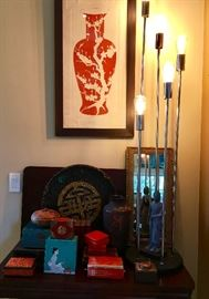 Antique finds, hanging painting is numbered (table and lamp not for sale)