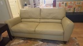 Leather sofa - $395   pewter/light green
