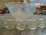 Beautiful large vintage Smith Glass punch bowl set very large platter, bowl, and at least 24 matching cups