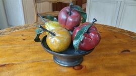 Rare Clara Duque Signed Bronze Fruit bowl Sculpture, 2 of 6 made